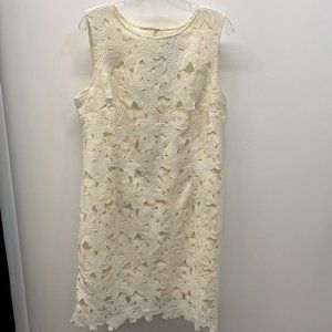Ann Taylor Ivory Floral Lace Dress
